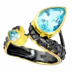 6.18cts black rhodium natural blue topaz silver 14k gold ring size 7.5 p32747