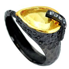 7.23cts black rhodium natural yellow citrine silver 14k gold ring size 9 p32741