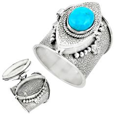 4.29cts blue arizona mohave turquoise 925 silver poison box ring size 9.5 p75575
