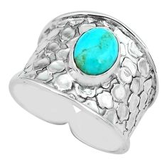 3.29cts blue arizona mohave turquoise 925 silver solitaire ring size 9.5 p68468