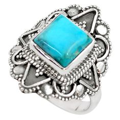 3.42cts blue arizona mohave turquoise 925 silver solitaire ring size 7 p85938
