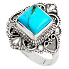 3.52cts blue arizona mohave turquoise 925 silver solitaire ring size 9 p85980