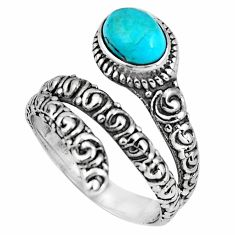 2.01cts blue arizona mohave turquoise 925 silver solitaire ring size 8.5 p89548