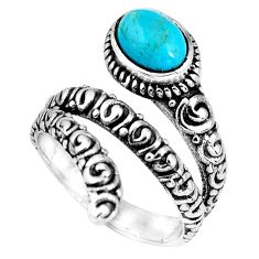 2.20cts blue arizona mohave turquoise 925 silver solitaire ring size 7.5 p89549