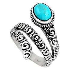 2.11cts blue arizona mohave turquoise 925 silver solitaire ring size 7.5 p89550