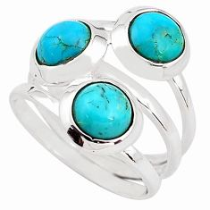 3.16cts blue arizona mohave turquoise 925 sterling silver ring size 6 p85805