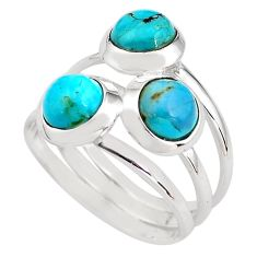 3.16cts blue arizona mohave turquoise 925 sterling silver ring size 7.5 p85806