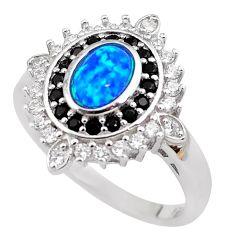 3.52cts blue australian opal (lab) topaz 925 sterling silver ring size 8 c2363