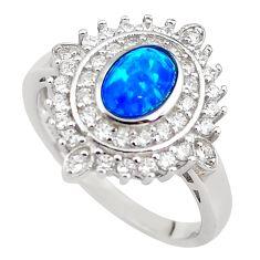 3.52cts blue australian opal (lab) topaz 925 sterling silver ring size 8 c2366