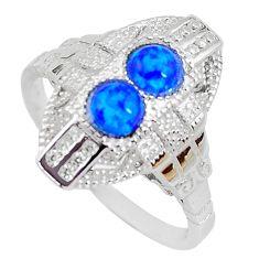1.84cts blue australian opal (lab) topaz 925 sterling silver ring size 8 c2440