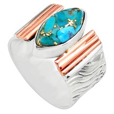 6.76cts blue copper turquoise 925 silver 14k gold solitaire ring size 8.5 p81008