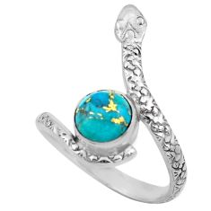 3.62cts blue copper turquoise 925 silver snake solitaire ring size 9.5 p62909