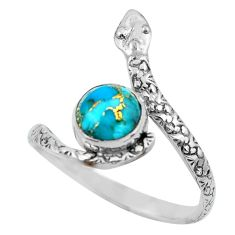 3.42cts blue copper turquoise 925 silver snake solitaire ring size 10 p62910