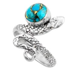 3.43cts blue copper turquoise 925 silver snake solitaire ring size 6.5 p62914