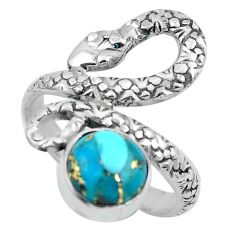 3.28cts blue copper turquoise 925 silver snake solitaire ring size 7.5 p62933