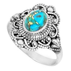 2.14cts blue copper turquoise 925 silver solitaire ring jewelry size 8.5 p52392
