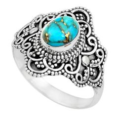 2.01cts blue copper turquoise 925 silver solitaire ring jewelry size 9 p53112