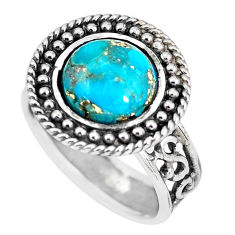 4.38cts blue copper turquoise 925 silver solitaire ring jewelry size 8 p56016