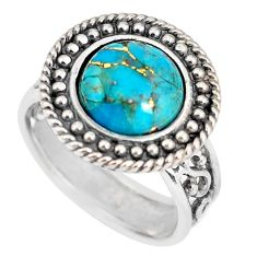 5.18cts blue copper turquoise 925 silver solitaire ring jewelry size 8 p56018