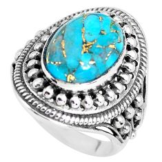 6.42cts blue copper turquoise 925 silver solitaire ring jewelry size 8 p56033