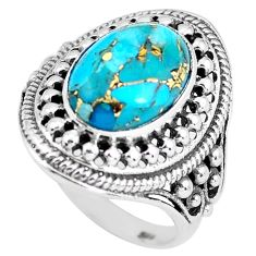 6.42cts blue copper turquoise 925 silver solitaire ring jewelry size 8 p61155