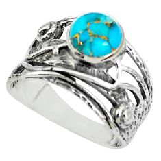 3.41cts blue copper turquoise 925 silver solitaire ring jewelry size 9 p61913