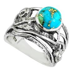 3.13cts blue copper turquoise 925 silver solitaire ring jewelry size 6 p61915