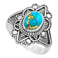 2.01cts blue copper turquoise 925 silver solitaire ring jewelry size 7.5 p62873