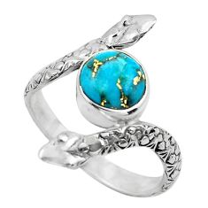 3.01cts blue copper turquoise 925 silver solitaire ring jewelry size 8 p62951