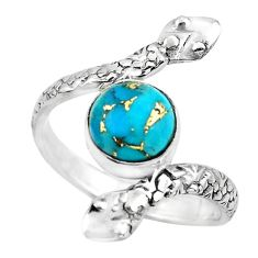 3.01cts blue copper turquoise 925 silver solitaire ring jewelry size 8.5 p62955
