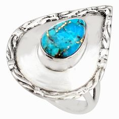4.21cts blue copper turquoise 925 silver solitaire ring jewelry size 9 p85834