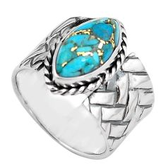 6.12cts blue copper turquoise 925 silver solitaire ring jewelry size 7.5 p87971
