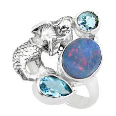 Blue doublet opal australian 925 silver fairy mermaid ring size 7.5 p61113