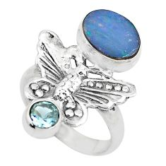 Blue doublet opal australian topaz 925 silver butterfly ring size 7 p61115