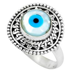3.06cts blue evil eye talismans 925 silver solitaire ring jewelry size 7 p63249