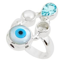 6.07cts blue evil eye talismans topaz 925 sterling silver ring size 7 p52623