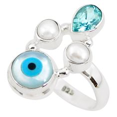 5.79cts blue evil eye talismans topaz 925 sterling silver ring size 6.5 p52625