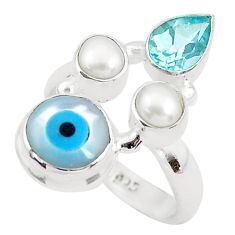 6.31cts blue evil eye talismans topaz 925 sterling silver ring size 6.5 p52628