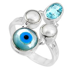 7.89cts blue evil eye talismans topaz 925 sterling silver ring size 8.5 p90721