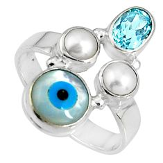7.89cts blue evil eye talismans topaz 925 sterling silver ring size 7.5 p90722