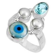 7.89cts blue evil eye talismans topaz 925 sterling silver ring size 8 p90723