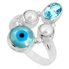7.53cts blue evil eye talismans topaz 925 sterling silver ring size 8 p90730