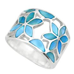 4.89gms blue pearl enamel 925 sterling silver flower ring size 5.5 c2522