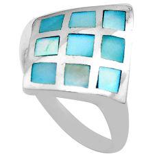 3.48gms blue pearl enamel 925 sterling silver ring jewelry size 5.5 c4162