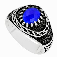 4.82cts blue sapphire (lab) topaz 925 sterling silver mens ring size 10.5 c2917