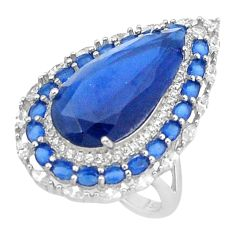 13.04cts blue sapphire (lab) topaz 925 sterling silver ring jewelry size 8 c2007