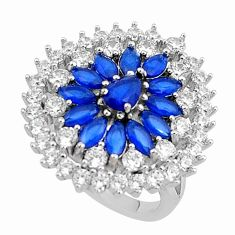 11.23cts blue sapphire (lab) topaz 925 sterling silver ring jewelry size 7 c2014