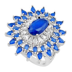 13.30cts blue sapphire (lab) topaz 925 sterling silver ring jewelry size 7 c2019