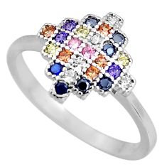 1.59cts blue sapphire (lab) topaz 925 sterling silver ring jewelry size 8 c5458