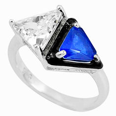 5.95cts blue sapphire (lab) topaz enamel 925 sterling silver ring size 8 c2601